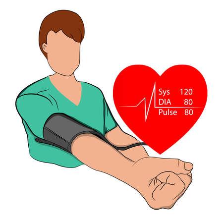 A man measuring pressure concept of health pressure measurement vector illustration graphic design Vector Illustration