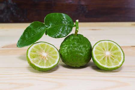 fresh fruits bergamot on wood table.