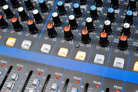 Audio control buttons Sound Control Hi Fi system The audio equipment, control panel of digital studio mixer Imagens