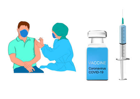 Doctor shot vaccination coronavirus concept covid-19 vaccines protect against and benefits of getting the Covid-19 vaccine vector illustration