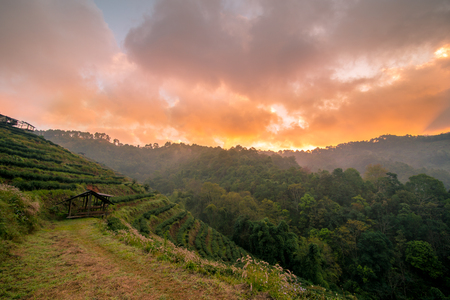 Mountains during sunrise. Beautiful natural landscape in the winter time in Thailand