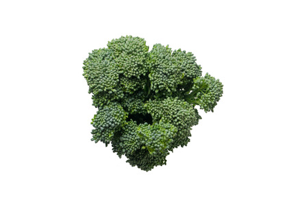 Broccoli topview on white background In vegetable and healthy concept.