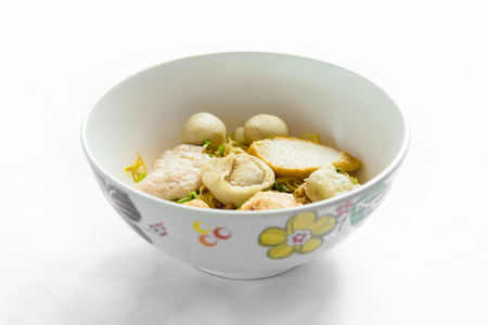 Rice Noodles with Fish Balls,Thai food