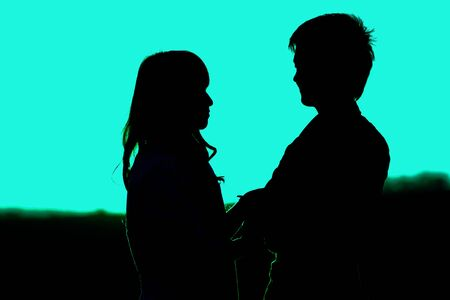 Young couple asian in love  outdoor green light Zdjęcie Seryjne