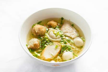 Rice Noodles Soup with Fish Balls,Thai food. Zdjęcie Seryjne