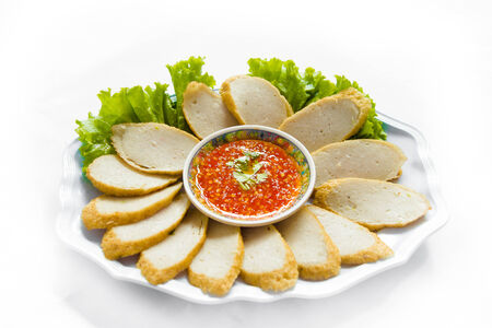 vietnamese food: Fried  Vietnames sausage Split on white background