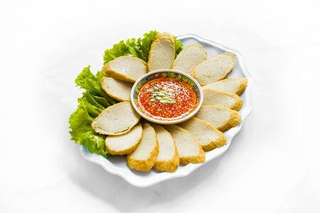Fried  Vietnames sausage Split on white background