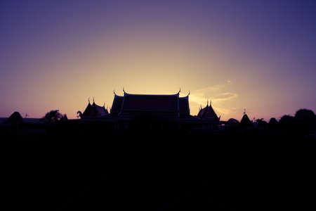Thailand Temple in sunset scene