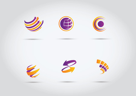 worldwide: Abstract web Icons and globe vector logos Illustration