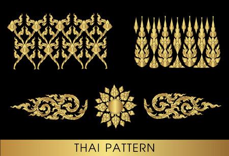 siluetas de elefantes: Arte tailandés vector patrón