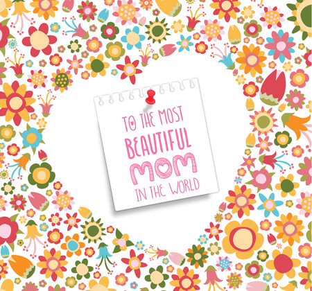 Lettering Happy Mothers Day. Hand-drawn card with flower Illustration