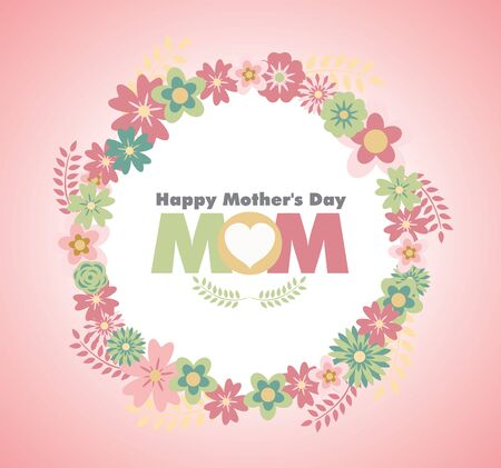 Happy Mothers Day with flower Ilustracja