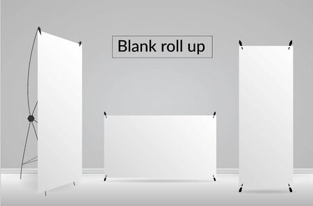 Blank roll up template on white backgrounds Ilustracja
