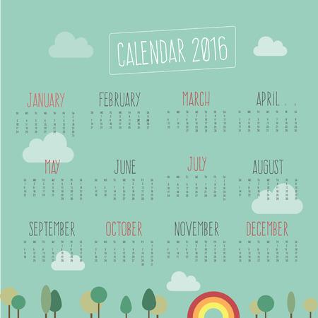 Calendar for 2016 Zdjęcie Seryjne - 42113976
