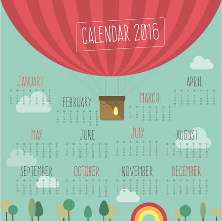 Calendar for 2016 with ballroom