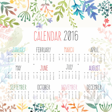 Calendario per il 2016 con fiori Vettoriali