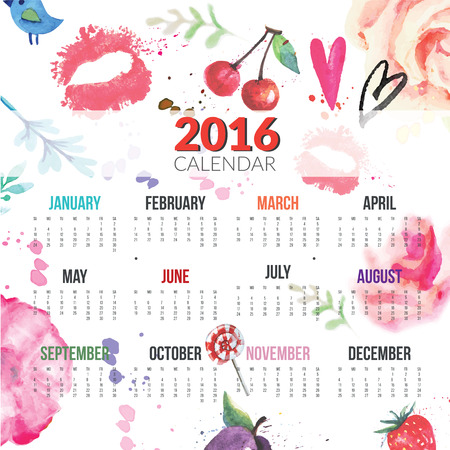 Calendar for 2016 with colorful paint