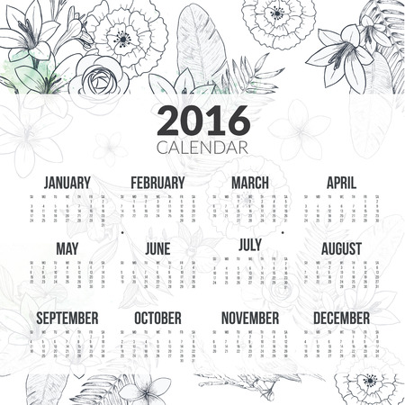 calendar october: Calendar for 2016 with flower