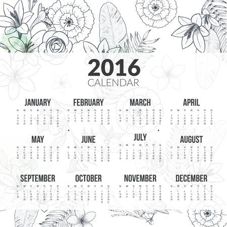 calendario octubre: Calendario para 2016 con flores Vectores