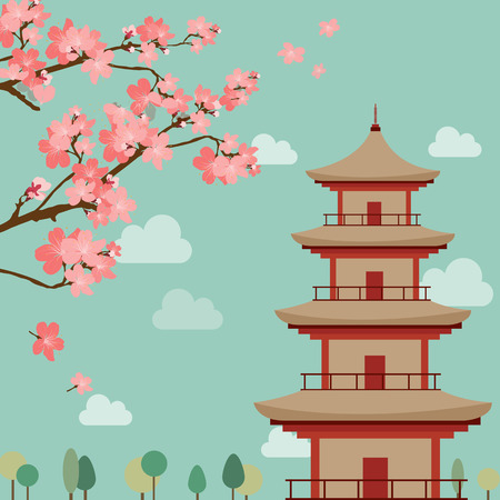Vector picture of japanese landscape theme, sakura flowers, pagoda silhouettes
