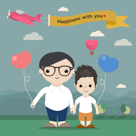 happy gay couple Ilustracja