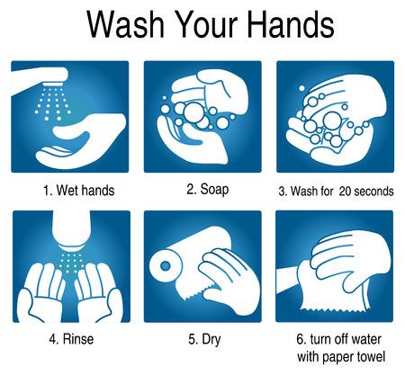 higiene: Cómo lavarse las manos para evitar los gérmenes y otros virus malos. sobre fondo azul