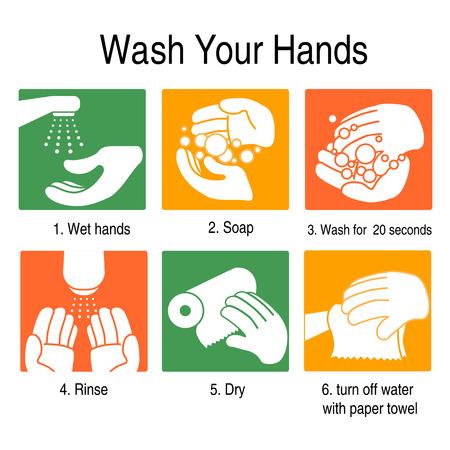 Cómo lavarse las manos para evitar los gérmenes y otros virus malos. en el estilo de color naranja y verde