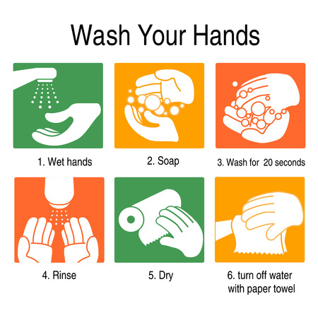How to wash your hands to avoid germs and other bad viruses. on orange and green style Çizim