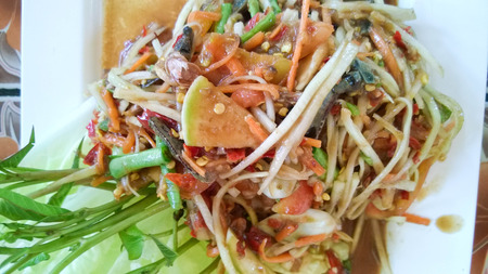 goi: Som Tam Thai - Thai Green Papaya Salad with peanuts.