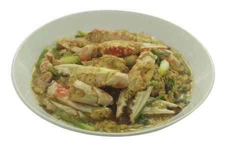 stirred: Stirred Fried Crab with Garlic, Pepper, Curry Powder. Stock Photo