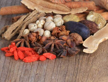 antecedents: Various spices selection on wood