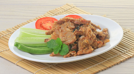 antecedents: spicy pork with chili and mint Stock Photo