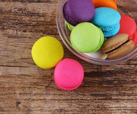 Tasty macaron isolate on wood Stock Photo