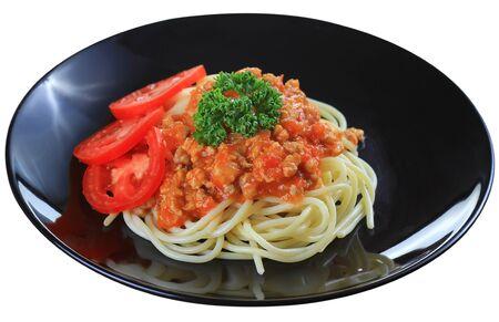 tight focus: spaghetti with tomato beef sauce