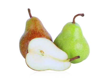 Isolated pears. One and a half green and red pear fruit isolated on white background