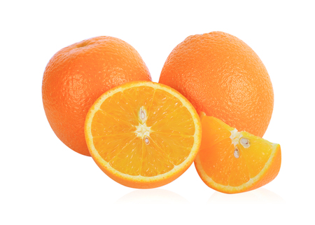 fresh orange isolated on white background Banco de Imagens