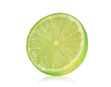 Fresh lime or lemon cut in half isolate on white background