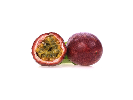 Fresh passion fruit isolated on a white background Banco de Imagens