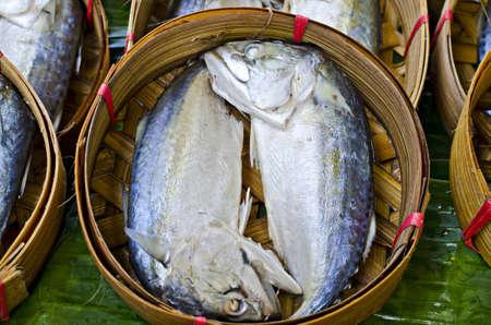 Mackerel fish in bamboo basket at market, Thailand Stock Photo - 12788311