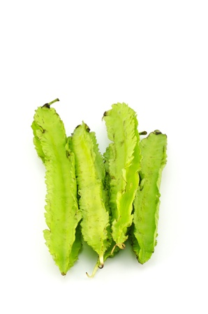 four chambers: Green Winged Beans, Vegetable isolated On White Background