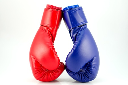 Close up of the boxing-gloves on the white background