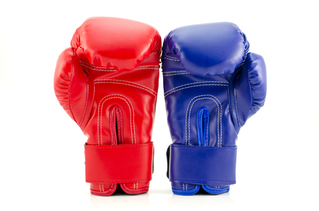 Close up of the boxing-gloves on the white background photo