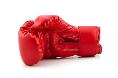 Studio shot of a red boxing glove photo