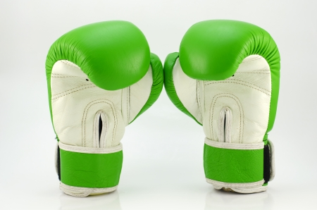 A pair of green boxing gloves Stock Photo