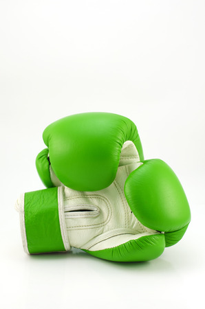 Vintage green color Boxing gloves Front and Back side with white blackground