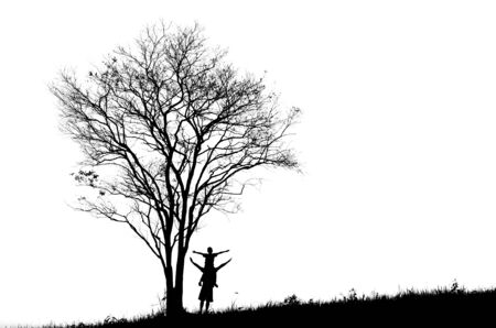 People tree silhouette black and white photo