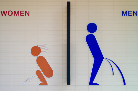 The Old sign restroom of male and female photo