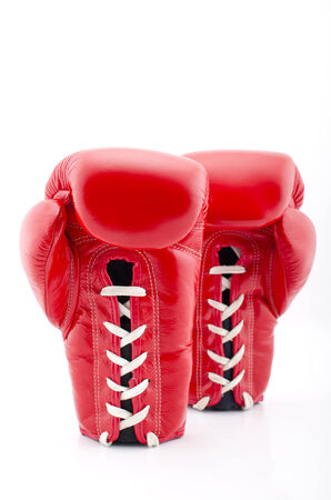 A pair of Red Boxing Gloves on a white Background photo