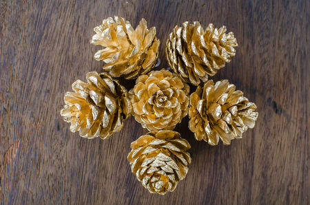 Christmas background with pine cones photo