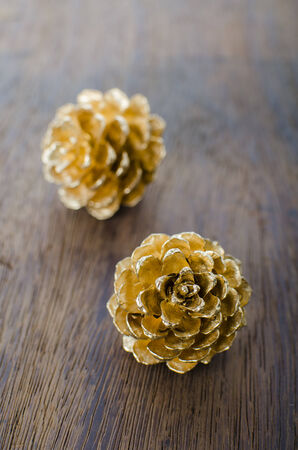 Christmas background with pine cones, christmas decoration on a wooden table background with copy space photo